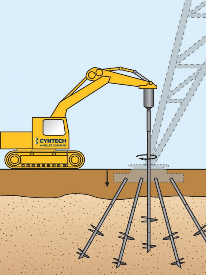 Helical piles illustration